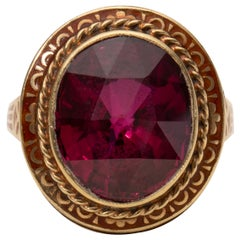 Retro Ruby Yellow Gold Ring Detailed Enamel Inlay with Etched Gallery