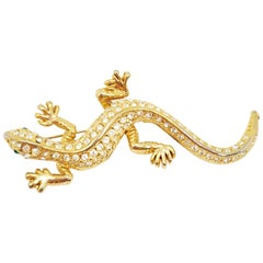 Retro Salamander Brooch Pin in Gold, Vintage Mid 1900s, United States