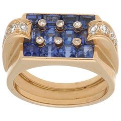 Sapphire and Diamond Cocktail Ring Set in 18k Rose Gold, circa 1940