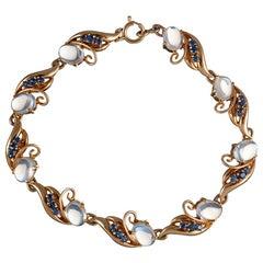 Retro Sapphire and Moonstone Swirl Bracelet