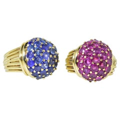 Retro Sapphire and Rubies Dome Style Vintage Yellow Gold Rings, circa 1955, Pair