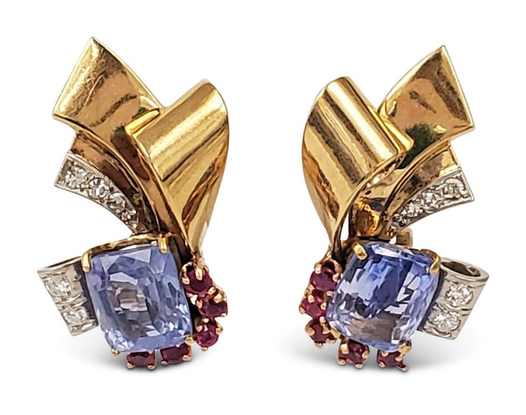 Women's Retro Sapphire and Ruby Scroll Earrings For Sale