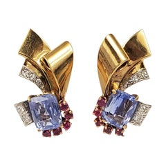 Retro Sapphire and Ruby Scroll Earrings