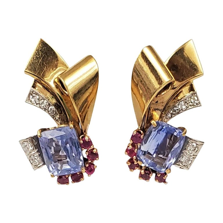 Retro Sapphire and Ruby Scroll Earrings For Sale