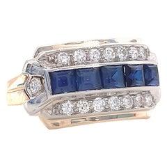 Retro Sapphire Diamond 14 Karat Gold Ring
