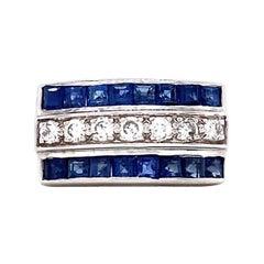 Retro Sapphire Diamond 14 Karat White Gold Ring