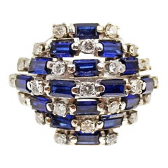 Retro Sapphire Diamond Palladium Dome Ring