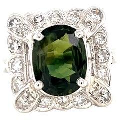 Retro Sapphire Diamond Platinum Cocktail Ring