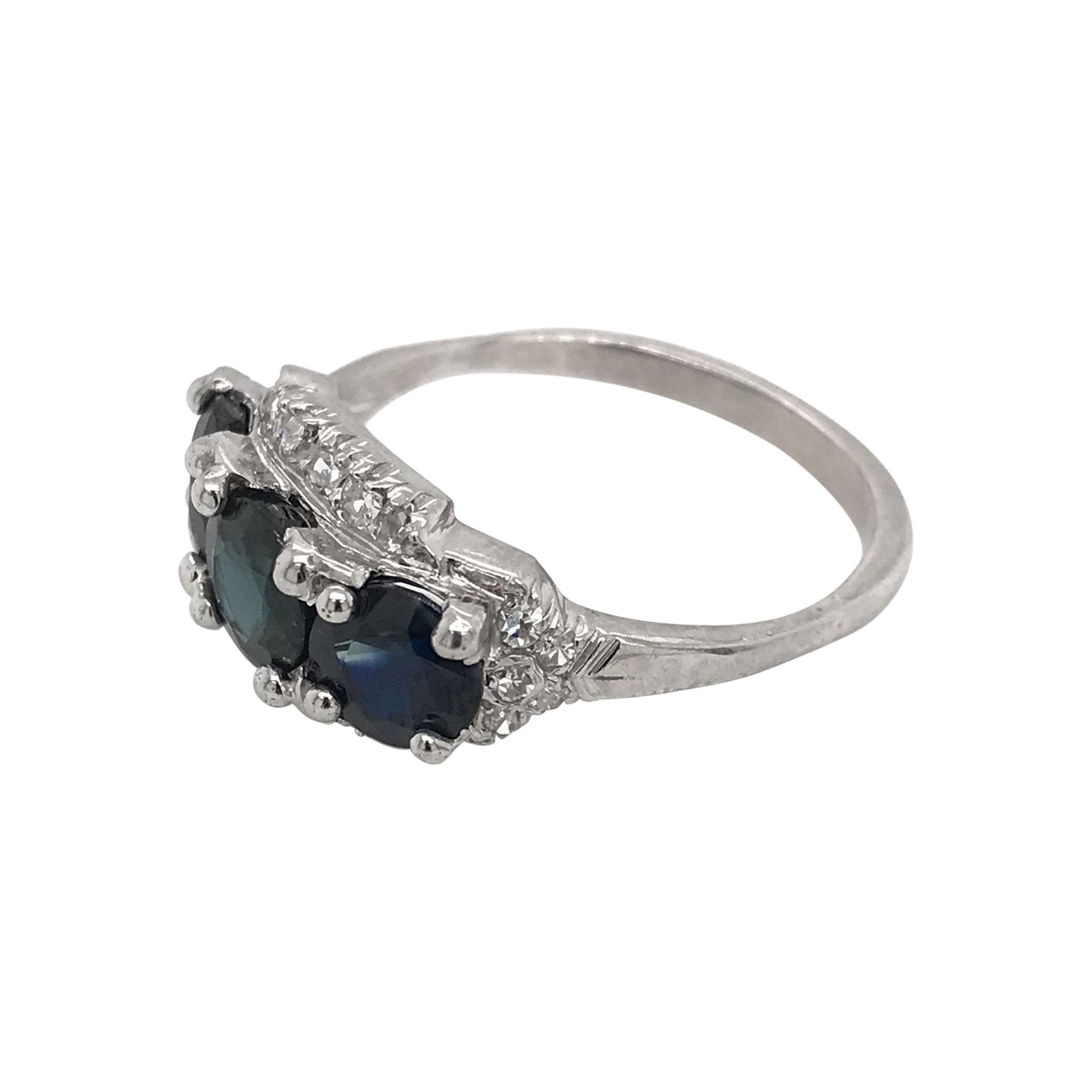 Retro Sapphire & Diamond Platinum Three Stone Ring