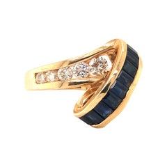 Retro Sapphire & Diamond Yellow Gold Cocktail Ring