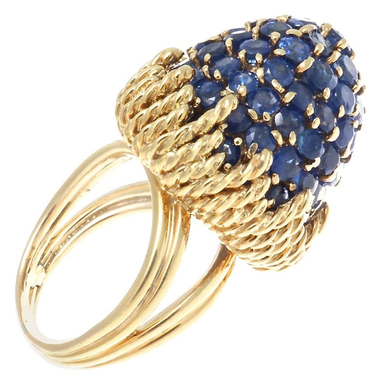 Retro Sapphire Gold Ring For Sale