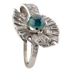Retro Sapphire Ring with Diamonds