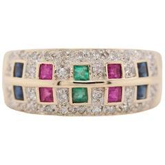 Retro Sapphire Ruby Emerald and Diamond 14 Karat Yellow Gold Ring