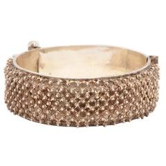 Silver Filigree Hinged Bangle Bracelet