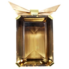 Retro Smoky Quartz Citrine 18 Karat Two-Color Gold Brooch