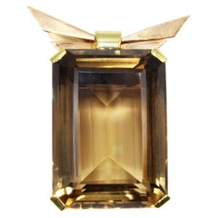 Retro Smoky Quartz Citrine 18 Karat Two-Color Gold Brooch
