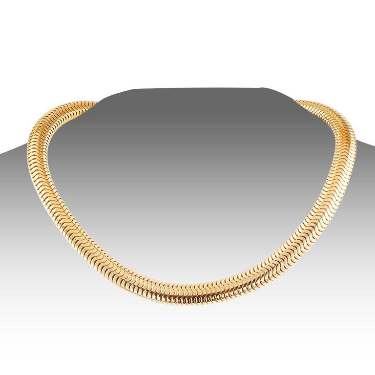 Women's Retro Snake Chain Yellow Gold Necklace