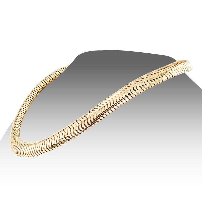 Retro Snake Chain Yellow Gold Necklace 1