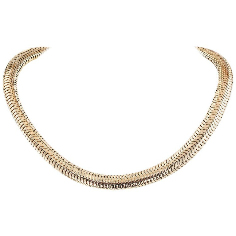 Retro Snake Chain Yellow Gold Necklace