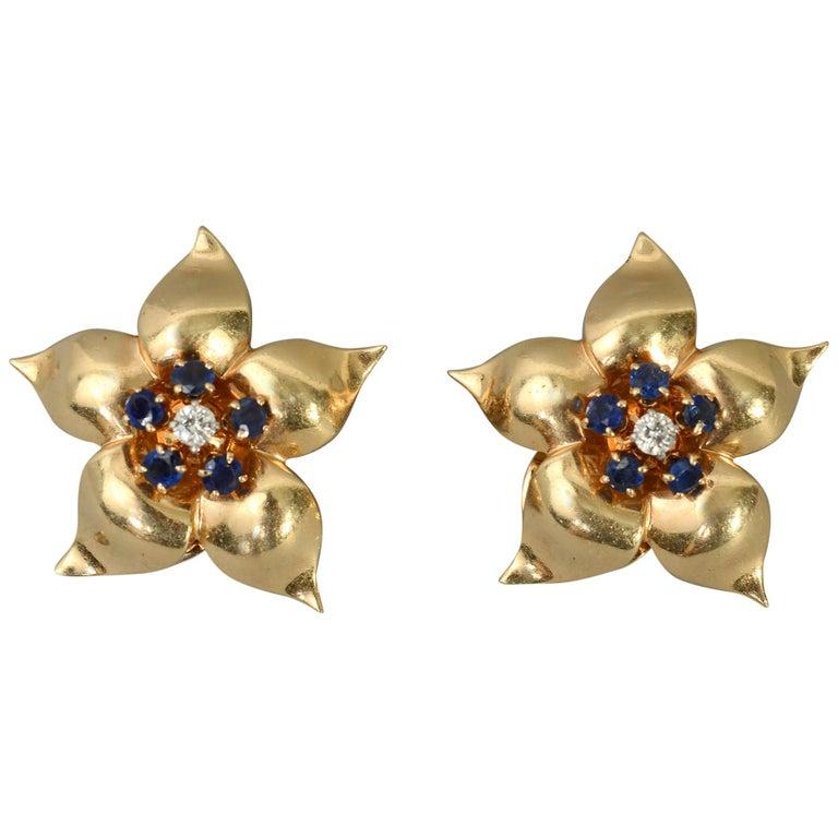 Retro Star Flower Sapphire and Diamond Earrings For Sale