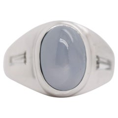 Retro Star Sapphire and Diamond 14 Karat White Gold Ring