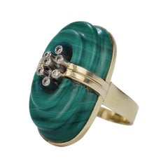 Retro Stepped Malachite, Diamond and 14 Karat Gold Cocktail Ring, 1970s