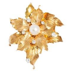 Retro Style 14 Karat Yellow Gold and Diamond Vintage Leaf Brooch