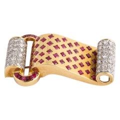 Retro Style 18 Karat Yellow Gold Ruby and Diamond Bracelet and Pendant Set