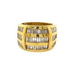 Retro Style 4.20 Carat 3 9 Row Baguette Cut Diamond 18k Yellow Gold Ring