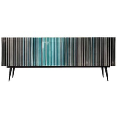 Retro Style Buffet, Barcode Design in Colored Glass, Shades of Turquoise