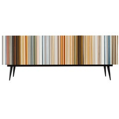 Retro Style Buffet Credenza, Barcode Design in Colored Glass
