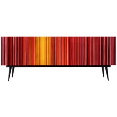 Retro Style Buffet Credenza, Barcode Design, Warm Colored Glass