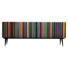 Retro Style Buffet Credenza, Barcode in Rainbow Colored Glass