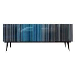 Retro Style Buffet Credenza Blue Hues Multicolor Barcode Glass Design