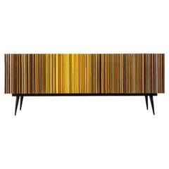 """Retro Style Credenza """"Buff-Heyyy"""", Barcode Warm Autumn Fall Colored Glass"""