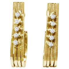 Retro Style Diamond and Yellow Gold Earrings