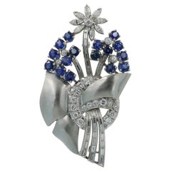 Retro Style Estate Sapphire and Diamond Pin in Platinum, circa 1940s