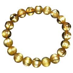 Retro Style Gold Rutilated Titanium Quartz Bracelet 18 Karat Yellow Gold