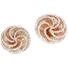Retro Stil Pinwheel Motif Diamant Ohrringe