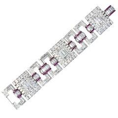 Retro Substantial 50.20 Carat Diamond Ruby Platinum Link Bracelet, circa 1950
