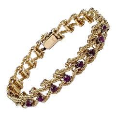 Retro Swiveled Rope Style Ruby Bracelet