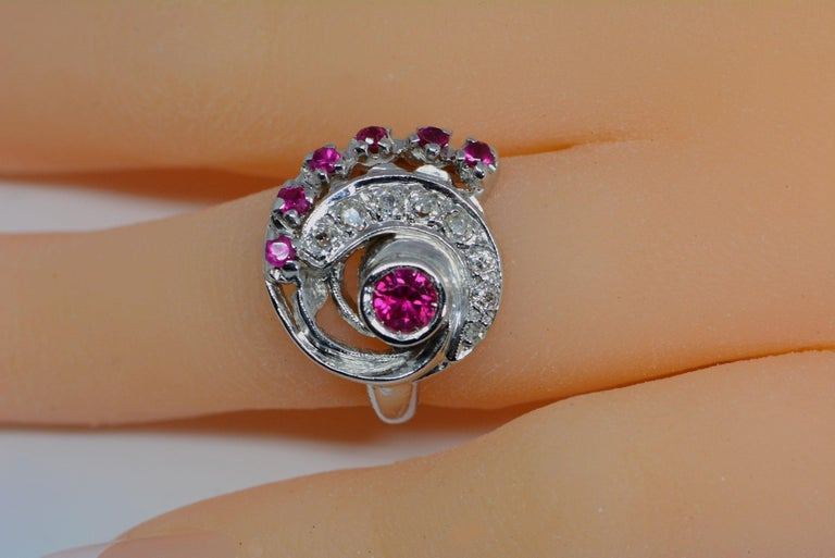 Old Mine Cut Retro Synthetic Ruby and Diamond Swirl Ring For Sale