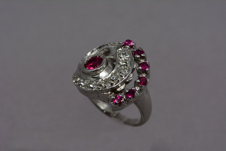 Women's Retro Synthetic Ruby and Diamond Swirl Ring For Sale