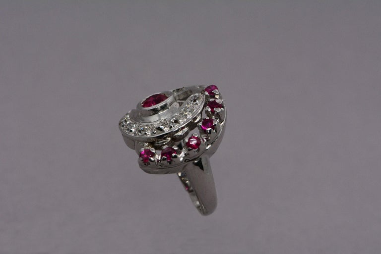 Retro Synthetic Ruby and Diamond Swirl Ring For Sale 1