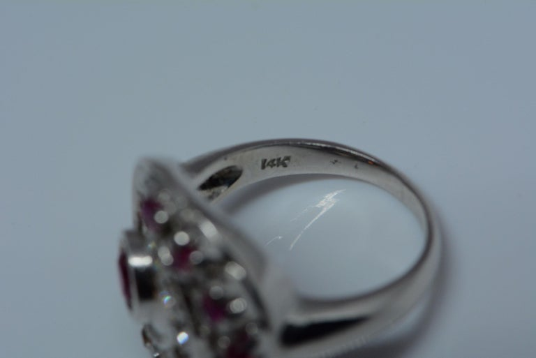 Retro Synthetic Ruby and Diamond Swirl Ring For Sale 2