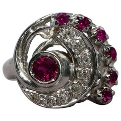 Retro Synthetic Ruby and Diamond Swirl Ring