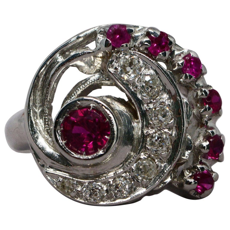 Retro Synthetic Ruby and Diamond Swirl Ring For Sale