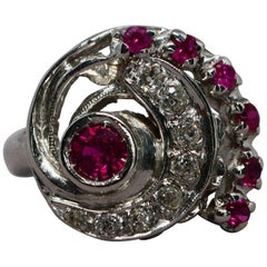 Retro Synthetic Ruby and Diamond Swirl Volute Ring 14 Karat Gold