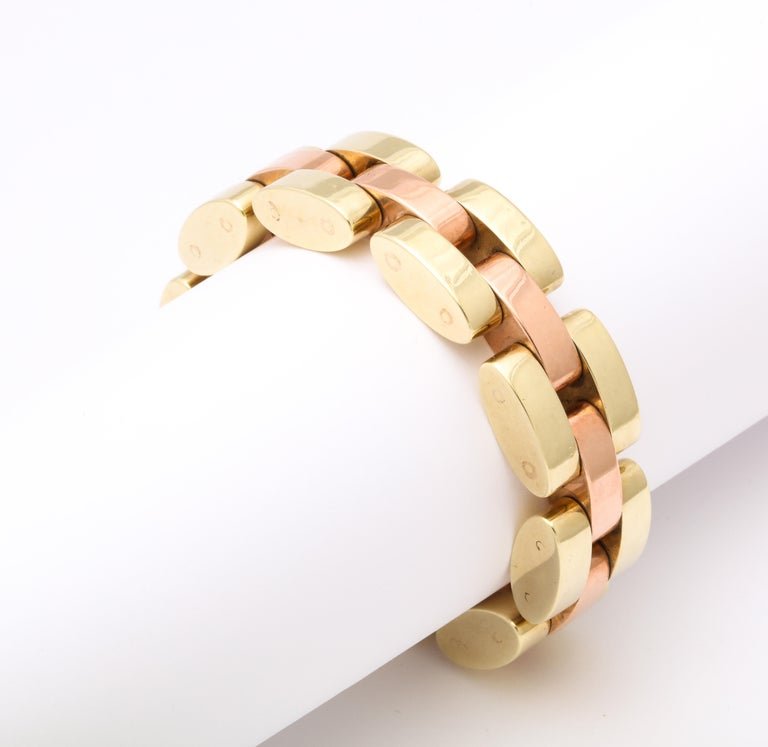Retro Tank Bracelet in Two Color Gold  In Good Condition For Sale In New York, NY