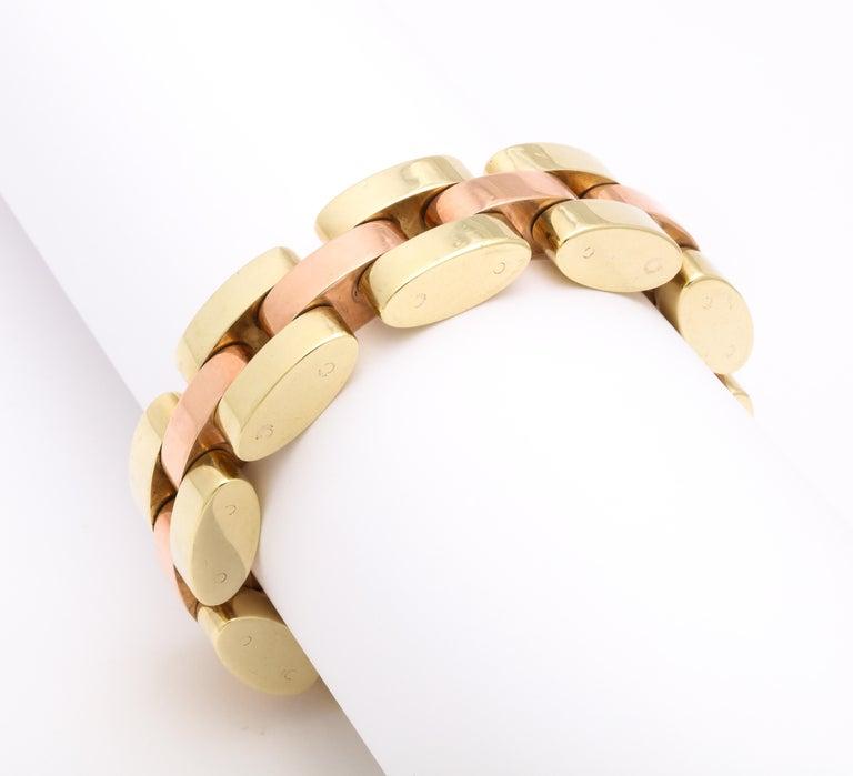 Women's Retro Tank Bracelet in Two Color Gold  For Sale
